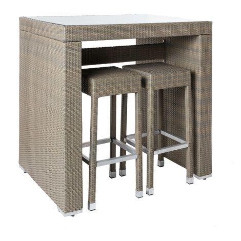 Conjunto de 4 taburetes altos y mesa alta marrón de rattan y cristal