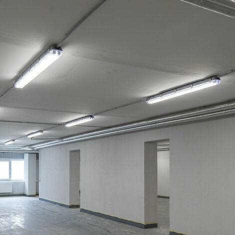 Conjunto de 5 tubos de LED Lámparas Salas de almacenamiento Taller industrial Luces de techo Garajes Tubos 4000K