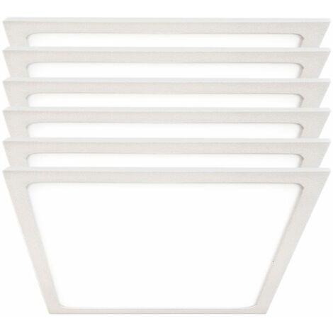 Conjunto de 6 focos de techo LED Luminaria de superficie Panel blanco Dormir Sala de estar Iluminación de oficina Lámpara ALU