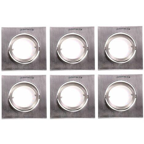 Conjunto de 6 focos LED empotrados plafones de aluminio DIMMABLE cocina cuadrada Foco spot cartón ajustable dañado