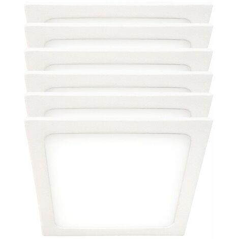 Conjunto de 6 LED Panel de montaje en superficie ALU Focos de techo Lámparas Blanco Luz de día Lámparas de sala de trabajo SLIM