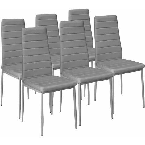 Conjunto de 6 sillas de comedor de polipiel - sillas para salón de diseño, sillas de comedor modernas de acero lacado, asientos de comedor para casa