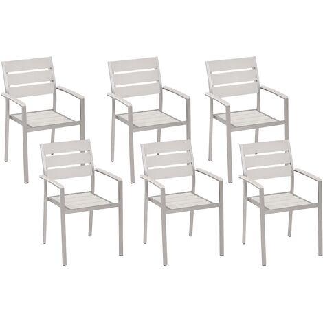 Conjunto de 6 sillas de jardín blancas VERNIO