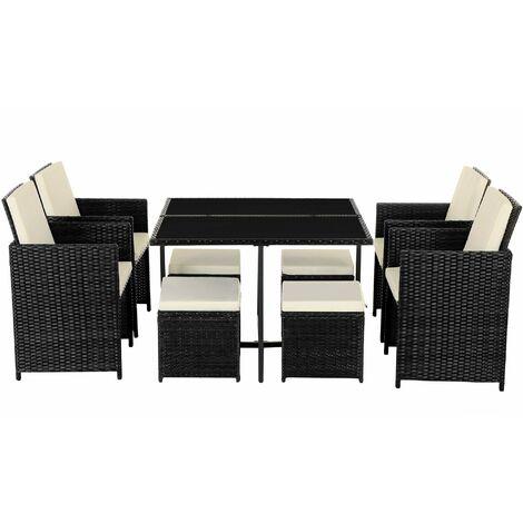 Conjunto de 9 muebles de jardín de ratán, Exterior, 4 sillas y 4 taburetes, Centro de mesa con tapa de cristal, con cojines, Fácil de guardar, Ahorra espacio, Negro y Beige GGF009B01 - Negro y Beige