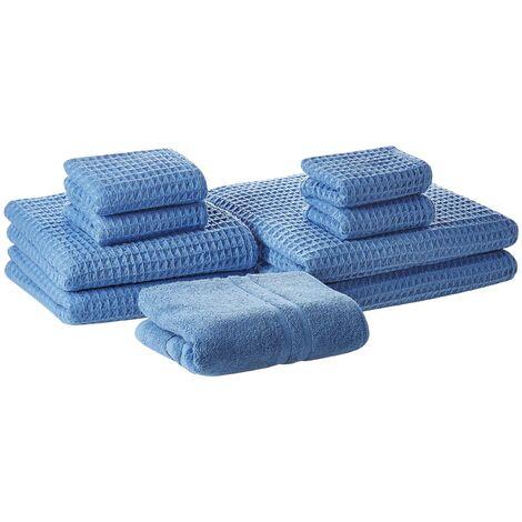 Conjunto de 9 toallas de algodón azules AREORA