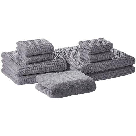 Conjunto de 9 toallas de algodón grises AREORA