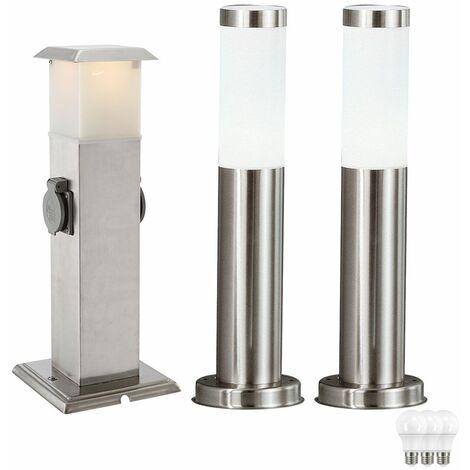 Conjunto de acero inoxidable lámparas de iluminación al aire libre 3 LED lámparas de suelo salidas de distribución de energía distribuidor
