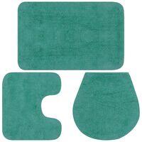 Conjunto de alfombrillas de baño de tela 3 piezas turquesa