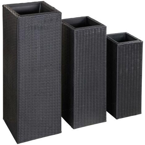 Conjunto de arriates de ratán sintético negro 3 piezas