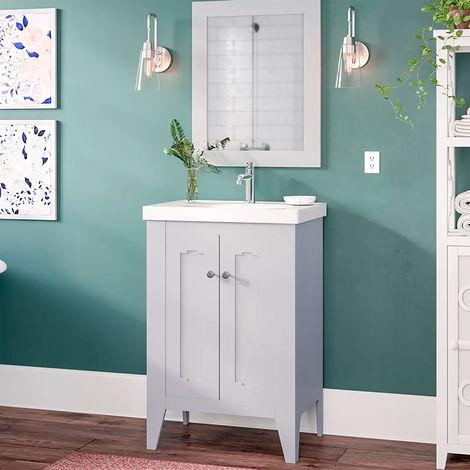 Conjunto de baño Boho Mueble a suelo + lavabo + espejo - estilo clásico vintage - ancho 60 cm - MDF gris mate