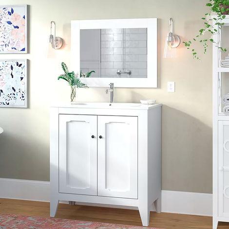 Conjunto de baño Boho Mueble a suelo + lavabo + espejo - estilo clásico vintage - ancho 80 cm - MDF blanco mate