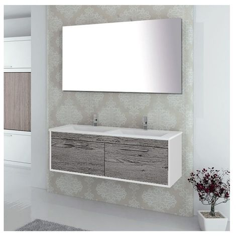 Conjunto de baño BRAGI con mueble bajo lavabo, lavabo y espejo ¡Con toallero de regalo! Varios colores y medidas Combi (gris ceniza y blanco) 100CM