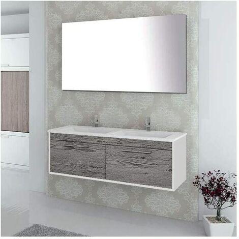 Conjunto de baño BRAGI con mueble bajo lavabo, lavabo y espejo ¡Con toallero de regalo! Varios colores y medidas Combi (gris ceniza y blanco) 120CM