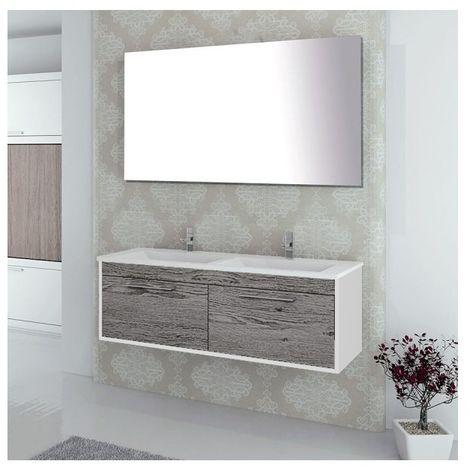 Conjunto de baño BRAGI con mueble bajo lavabo, lavabo y espejo ¡Con toallero de regalo! Varios colores y medidas Combi (gris ceniza y blanco) 60CM
