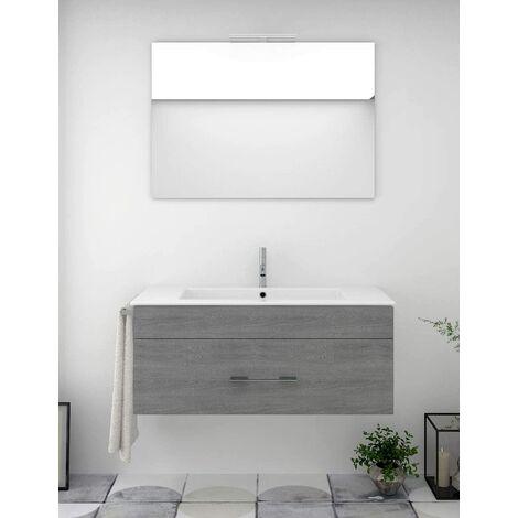 Conjunto de baño BRAGI con mueble bajo lavabo, lavabo y espejo ¡Con toallero de regalo! Varios colores y medidas Gris ceniza 60CM