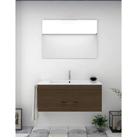Conjunto de baño BRAGI con mueble bajo lavabo, lavabo y espejo ¡Con toallero de regalo! Varios colores y medidas Marrón 60CM