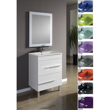 Muebles Bano Lavabo Cristal.Conjunto Mueble De Bano Claudia 60 Lavabo Cristal Azul