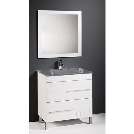 Conjunto de baño CLAUDIA 80 CM, lavabo cristal GRIS - Mueble 80 cm blanco 2 cajones, Espejo sin iluminación y lavabo cristal gris