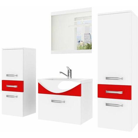 Conjunto de baño Fine Blanco/Rojo completo + espejo + lavabo