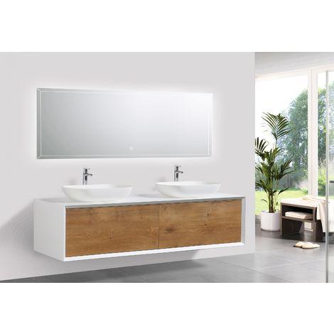 Conjunto de baño Fiona 1600 blanco mate - frontal de aspecto a roble - espejo y lavabo opcionales