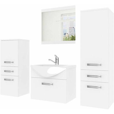 Conjunto de baño incluye 3 muebles blanco + espejo + lavabo cerámicoRoca