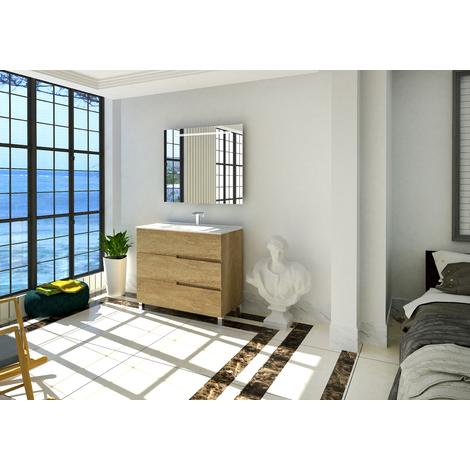 Conjunto de baño Mueble 90x85x46 - Lavabo - Espejo 90 x 80