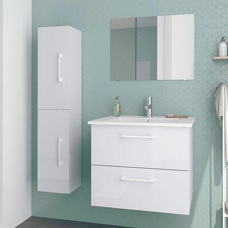 Conjunto de baño: Mueble suspendido Stella + Lavabo cerámica + Espejo - Estilo moderno - Melamina gris brillo - Anchura 60 cm