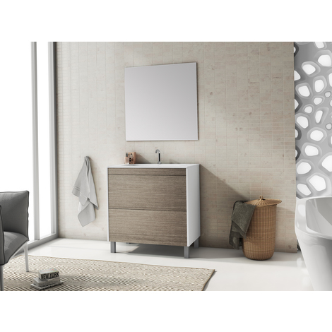 Conjunto de baño Push Blanco/Roble