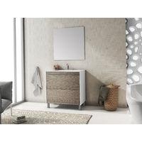 Conjunto de baño Push Blanco/Roble