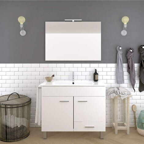 Conjunto de baño THOR económico, Mueble de baño, lavabo y espejo ¡¡Con toallero de regalo!! Varios colores y medidas en Blanco 60CM
