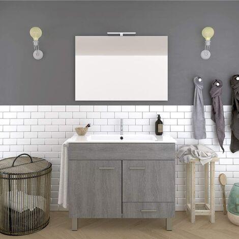 Conjunto de baño THOR económico, Mueble de baño, lavabo y espejo ¡¡Con toallero de regalo!! Varios colores y medidas en Gris ceniza 60CM