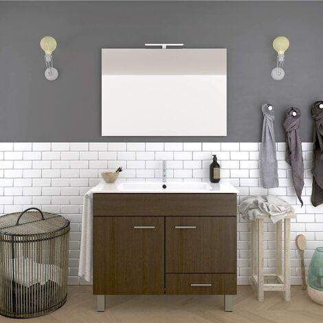 Conjunto de baño THOR económico, Mueble de baño, lavabo y espejo ¡¡Con toallero de regalo!! Varios colores y medidas en Marrón 80CM