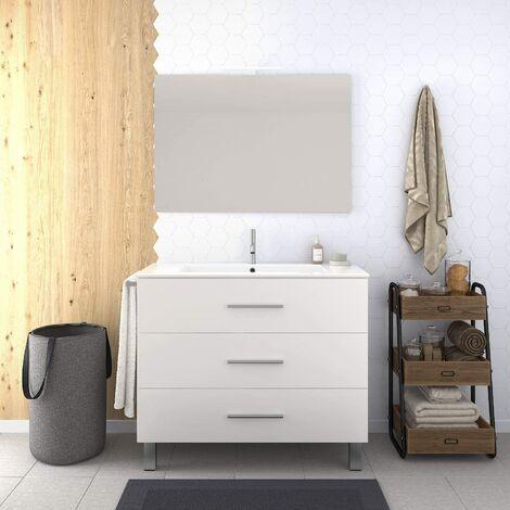 Conjunto de Baño VÁLI Mueble con tres cajones, lavabo y espejo ¡¡Con toallero de regalo!! Varios colores y medidas En blanco 60CM