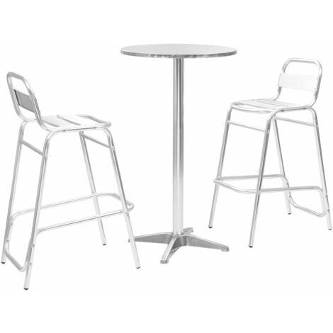 Conjunto de bar 3 piezas con mesa redonda aluminio plateado