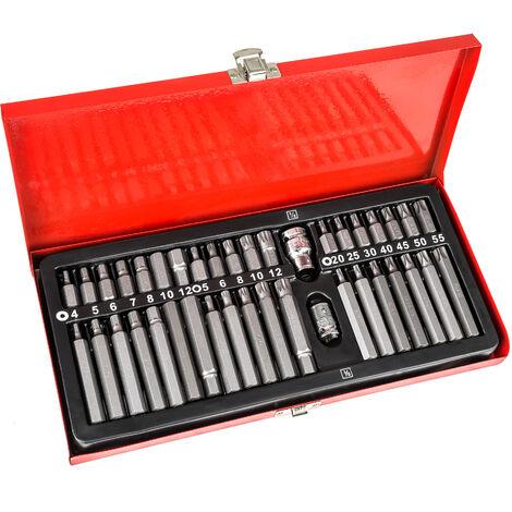 Conjunto de brocas 40 piezas - juego de brocas torx de acero cromo vanadio, kit de brocas para trinquete con maletín metálico, set de brocas para taladro con adaptador - rojo
