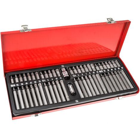 Conjunto de brocas 54 piezas - juego de brocas torx de acero cromo vanadio, kit de brocas para trinquete con maletín metálico, set de brocas para taladro con adaptador - rojo