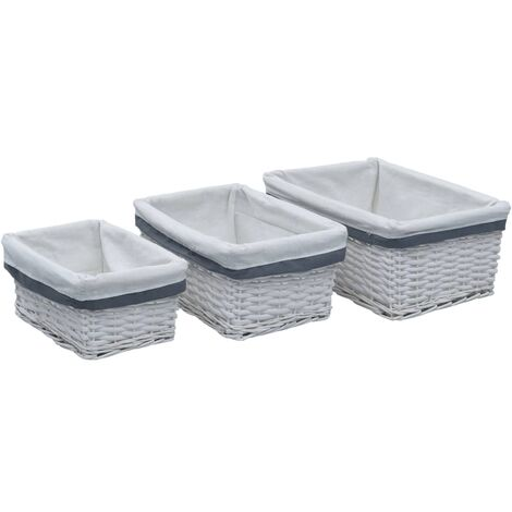 Conjunto de cestas apilables 3 unidades de sauce blanco
