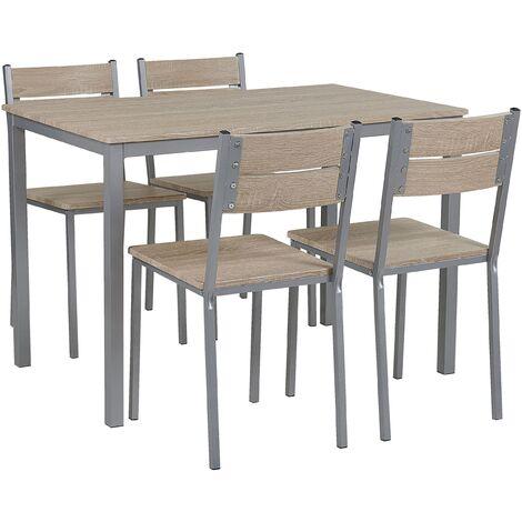 Conjunto de comedor 4 plazas madera clara/blanco BLUMBERG