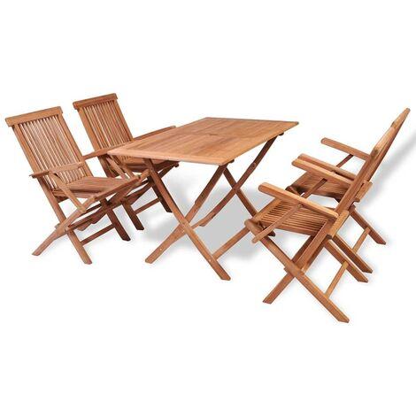Conjunto de comedor de jardín 5 piezas madera maciza de teca