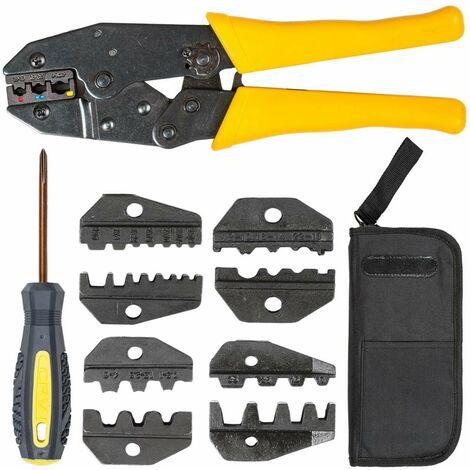 Conjunto de crimpadora 0,5-6mm² con bolsa - pinzas crimpadoras con bolsa de herramientas, tenaza crimpadora con pinzas de engaste intercambiables, alicate engarzador de acero con accesorios - amarillo