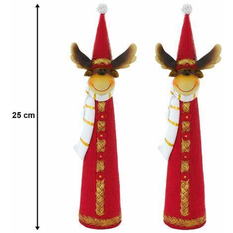 Conjunto de decoraciones 2 Estatuillas bufanda renos Adviento tiempo de Navidad rojo marrón blanco de punto de oro