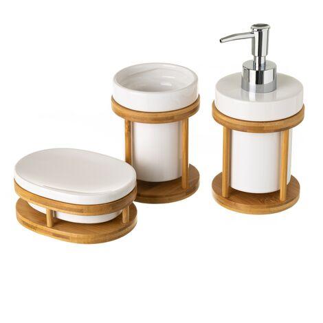 Conjunto de dispensador, jabonera y portacepillos de cerámica y bambú nórdico blanco