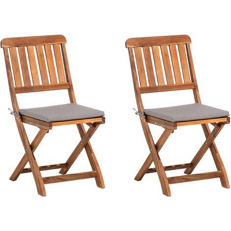 Conjunto de dos sillas de jard n madera de acacia marr n - Sillas madera jardin ...