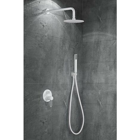 Conjunto de ducha empotrada blanco mate serie Milos
