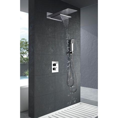 Conjunto de ducha empotrada cascada y lluvia termostatica serie Rodas