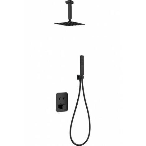 Conjunto de ducha empotrada negro mate serie Portugal