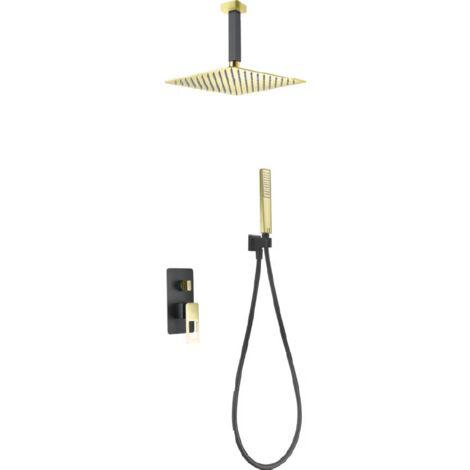 Conjunto de ducha empotrada negro oro brillo serie Estocolmo