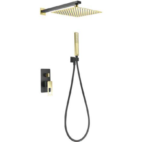 Conjunto de ducha empotrada negro oro brillo serie Suecia