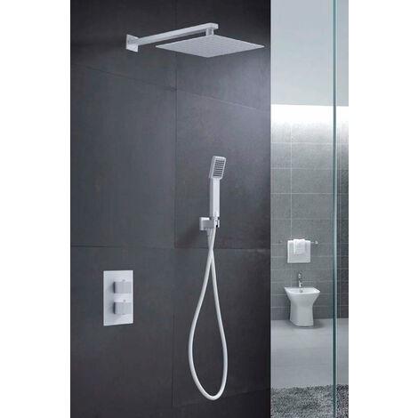 Conjunto de ducha empotrada termostatica blanco mate Serie Cies - IMEX