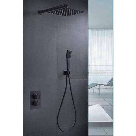 Conjunto de ducha empotrada termostatica negro mate Serie Cies - IMEX